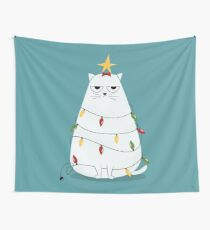 Grumpy Christmas Cat Wall Tapestry