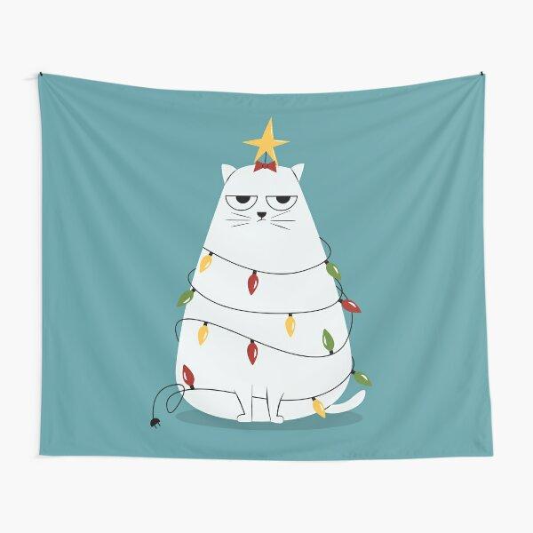 Grumpy Christmas Cat Tapestry