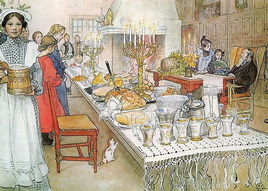 Christmas Eve Carl Larsson, Christmas painting by famous artist, Holiday Tree, festive, family, thanksgiving, Santa, xmas, 1950s, Vintage, Greetings, Merry, Grandparents, Hanuka, Norman Rockwell  by Art Gallery