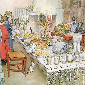 Christmas Eve Carl Larsson, Christmas painting by famous artist, Holiday Tree, festive, family, thanksgiving, Santa, xmas, 1950s, Vintage, Greetings, Merry, Grandparents, Hanuka, Norman Rockwell  by designteam