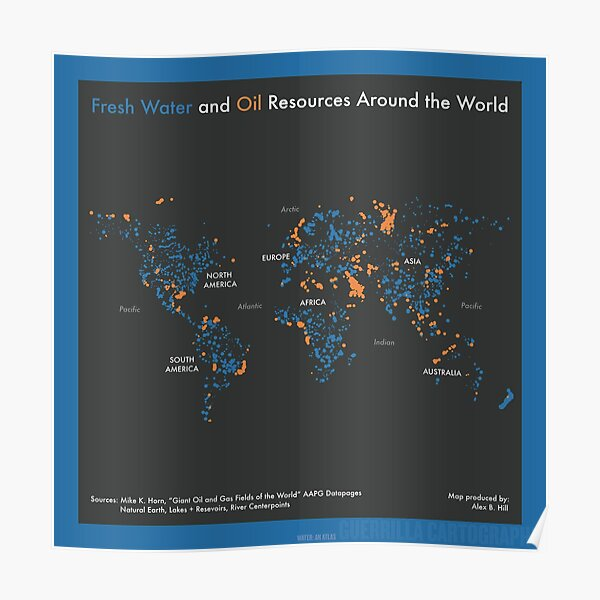 Fresh Water and Oil Resources Around the World (blue)  Poster