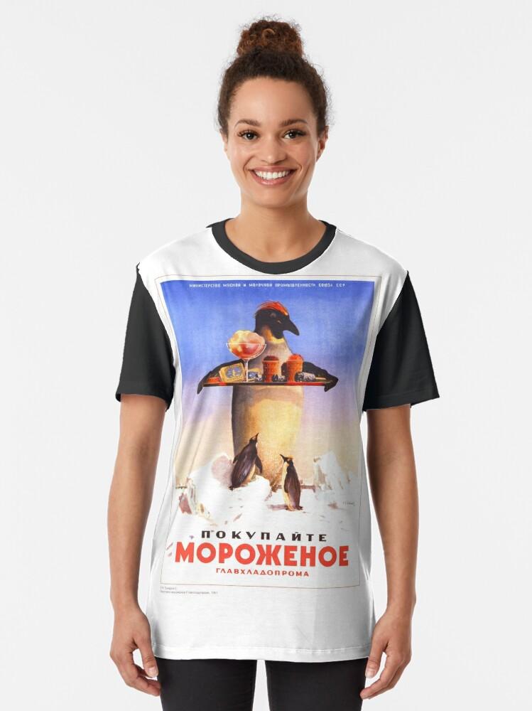 Alternate view of Vintage Russian Posters #flightlessbird #illustration #nature #bird #advertisement #poster #animal #vertical #marketing #nopeople #retrostyle #nonurbanscene #animalthemes #RussianPoster Graphic T-Shirt