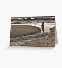 Girl in the red & white spot togs Greeting Card