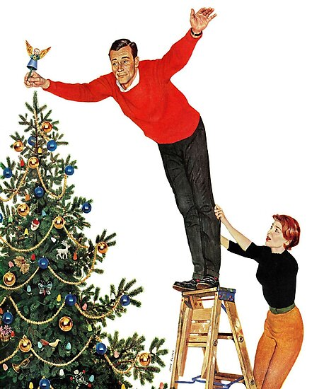 Topping the Christmas tree painting by famous artist John Philip Falter, Angel, Holiday, ornaments, family, thanksgiving, Santa, xmas, 1950s, Vintage, Greetings, Merry, decorations, Norman Rockwell by Design Team