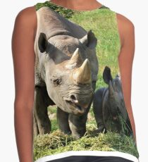 Rhino Mother and Child Contrast Tank