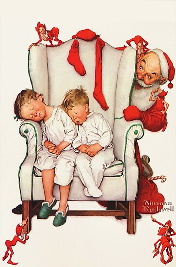 Santa looking at two sleeping children Norman Rockwell,  Christmas painting by famous artist, Santa, xmas, 1950s, Vintage, Greetings, Merry, Grandparents, Holiday Tree, festive, family, thanksgiving by Art Gallery