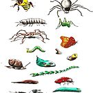 Insects & friends leggings by David Fraser