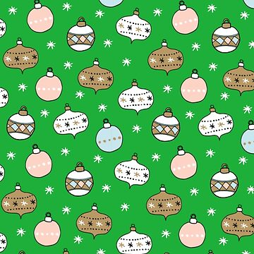 Christmas Baubles with green background Festive Fun Xmas Day Outfit by emmafifield
