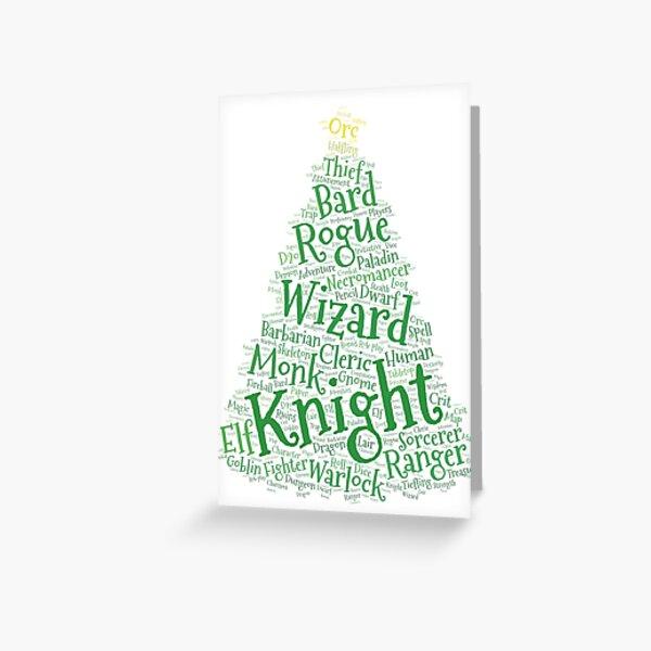 RPG Christmas Tree Word Art Greeting Card