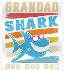 Retro Vintage Grandad Shark TShirt Gift Daddy Grandpa Dad Poster