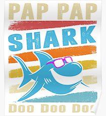Retro Vintage Pap Pap Shark TShirt Gift Daddy Grandpa Dad Poster