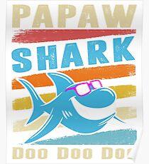 Retro Vintage Papaw Shark TShirt Gift Daddy Grandpa Dad Poster