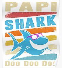 Retro Vintage Papi Shark TShirt Gift Daddy Grandpa Dad Poster