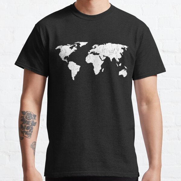 Vintage World Map Shirt for the Globe Trotter - Travel, Traveler, Distressed Classic T-Shirt