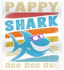 Retro Vintage Pappy Shark TShirt Gift Daddy Grandpa Dad Poster