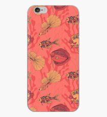 Fishes on living coral background iPhone Case
