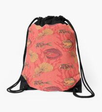 Fishes on living coral background Drawstring Bag