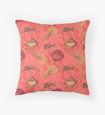 Fishes on living coral background Floor Pillow