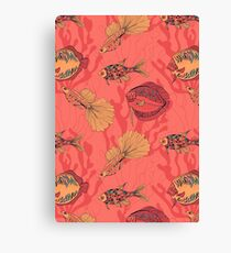 Fishes on living coral background Canvas Print