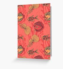 Fishes on living coral background Greeting Card
