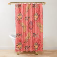Fishes on living coral background Shower Curtain