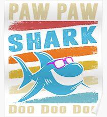 Retro Vintage Paw Paw Shark TShirt Gift Daddy Grandpa Dad Poster