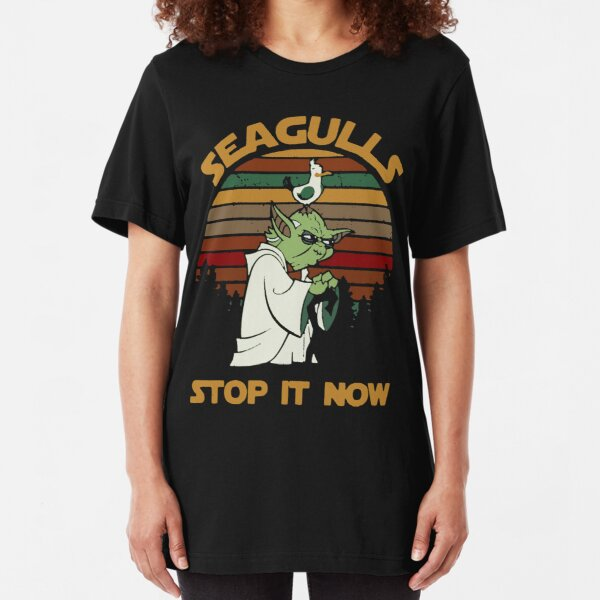 Sunset retro style Seagulls stop it now Slim Fit T-Shirt