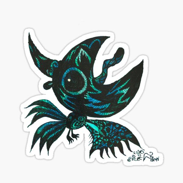 the black crow shout out to the moon  Sticker