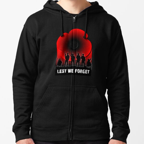 Lest we Forget Zipped Hoodie