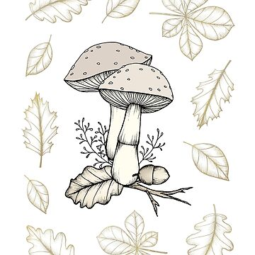 Mushrooms and Leaves by barlena