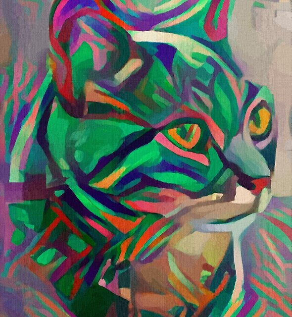 Gato de rayas - Lea Roche paintings, cat, cat by LEAROCHE