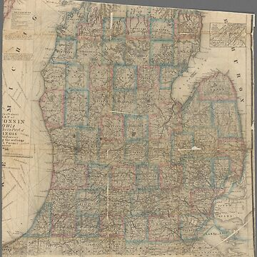 Wisconsin vintage map by Geekimpact