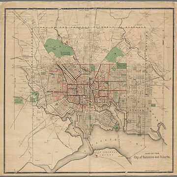 Vintage Baltimore City map by Geekimpact