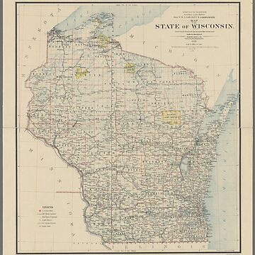 Vintage map of the state of Wisconsin by Geekimpact