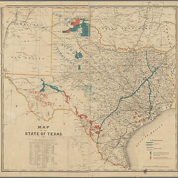 Vintage map of the state of Texas by Geekimpact