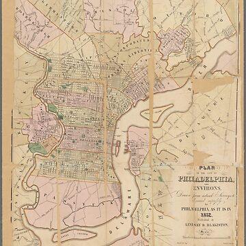 Vintage map of Philadelphia by Geekimpact