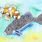 Postcards for the Reef 10: Harlequin Sweetlips, 2 generations by MiMiDesigns