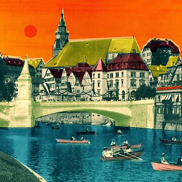 BADEN-WÜRTTEMBERG Tübingen Neckar bridge Rowing boats Neckarmüller collage by Mauswohn