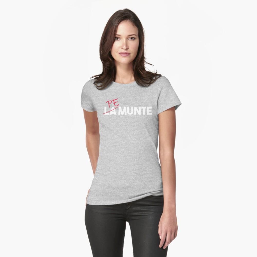 """""""Pe munte"""", nu """"la munte"""" (2) Womens T-Shirt Front"""