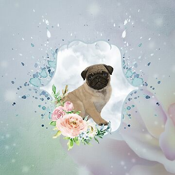 Cute little pug with flowers by nicky2342