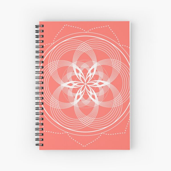 White Mandala On A Living Coral Background Spiral Notebook
