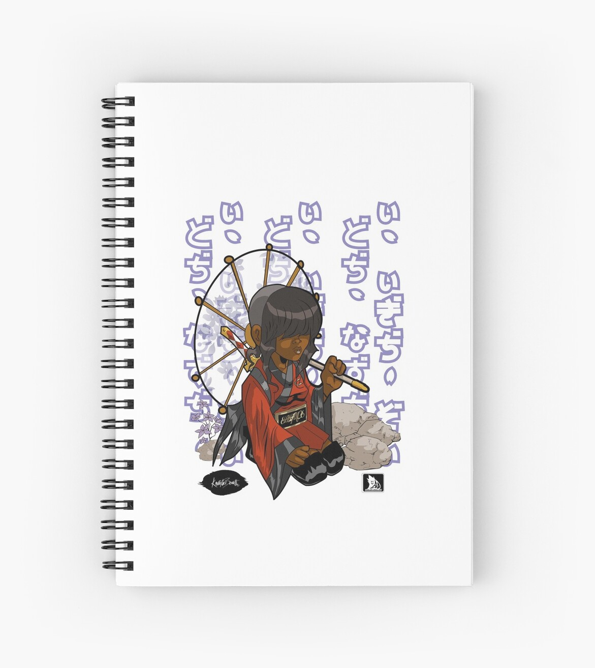 "Manga Samurai Spiral Notebooks By Jiggymiggy: "" SAMURAI ELEGANCE"" Spiral Notebooks By Kevinleedesigns"