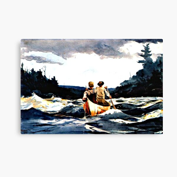 Canoe in the Rapids by Winslow Homer Canvas Print