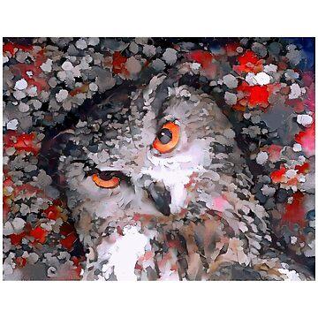 Portrait of a Curious Owl by Chunga