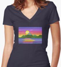 Beautiful colourful sunset digital art Women's Fitted V-Neck T-Shirt