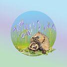 Two cute hedgehogs between flowers by Birgit Schiffer