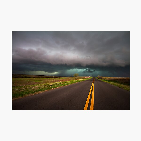 On the Road - Highway Leads Into Intense Storm in Oklahoma Photographic Print