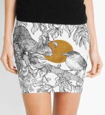 Forest friends - squirrel and bird, gold Mini Skirt