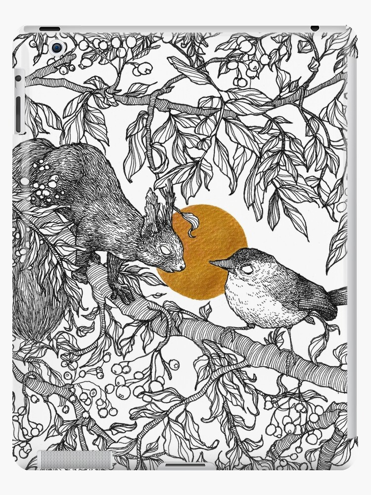 Forest friends - squirrel and bird, gold by martasketches