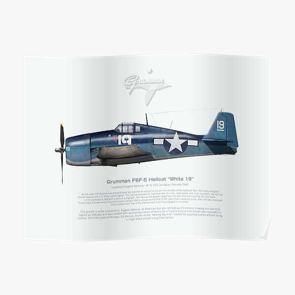 Grumman Hellcat F6F 'White 19' Poster